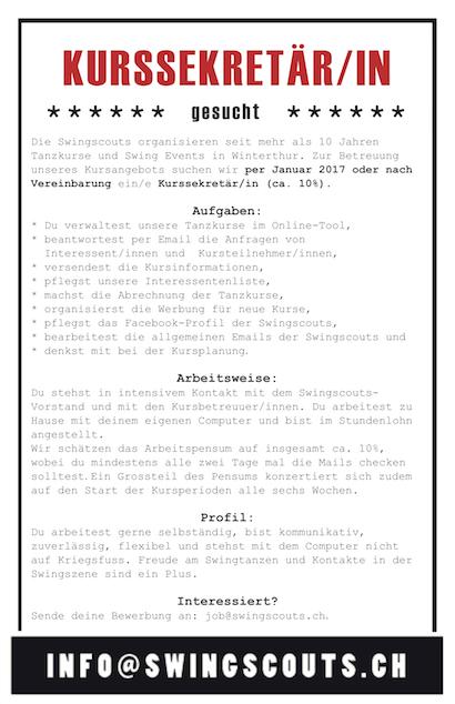 Kurssekretär/in (ca. 10%) gesucht